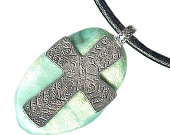 large pewter cross chrysoprase leather unisex necklace