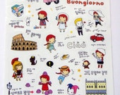 Cute Little Red Haired Girl Plastic Travel Stickers From Korea - Italian Theme - Pizza, Vespa, Ice Cream, Leaning Tower Of Pisa, Colosseum