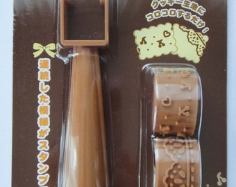 Cute Japanese Deco Cookie Stamp Set - Roller Type - Hearts, Dots, Cherries, Lace Pattern