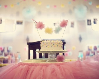 Baby Be Mine - Custom Mini Tulle Pom Pom Cake Bunting - 3 inch tulle poms on satin ribbon in your choice of colors