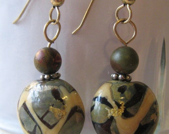 Beautiful Gold Infused Lamp Work Glass Beaded  Dangle Earrings