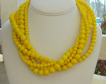 Yellow Necklace, Yellow Jewelry, Chunky Yellow Necklace, Yellow Statement Necklace, Gifts for Her, Lemon Yellow Bridesmaids, Chunky Ducky