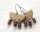 Toffee Brown Enamel Earrings, Copper Half Circles