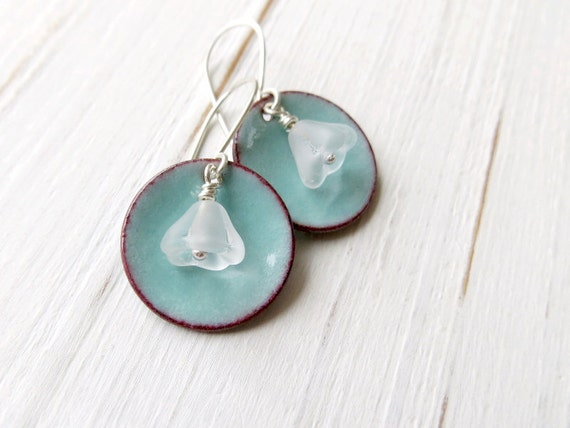 Blue Flower Earrings, Turquoise Blue Enamel and Frosted Glass Beads, Sterling Silver and Copper, Bridesmaid Jewelry