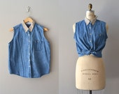 sleeveless denim shirt / collared denim top / vintage Ally top