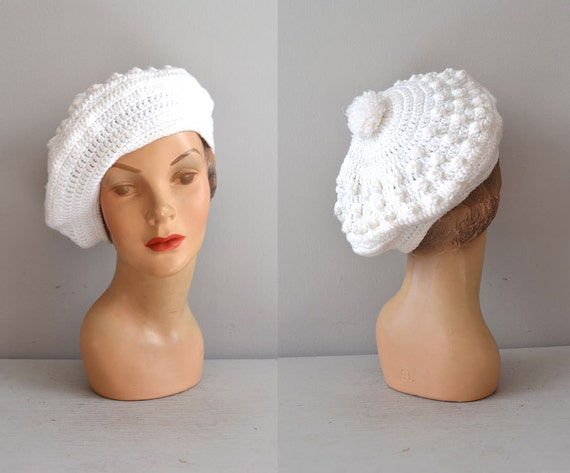 knit beret / white beret / white winter hat / Snowcap hat