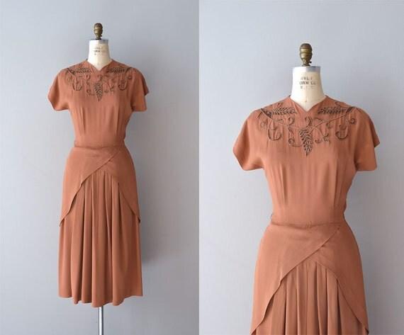 vintage 40s dress / 1940s dress / Dufrenoy rayon dress