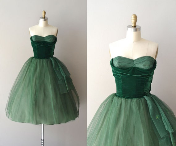 moss green vintage party dress with full skirt and strapless top