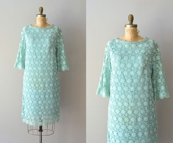 1960s dress / lace 60s dress / De Menth lace shift dress