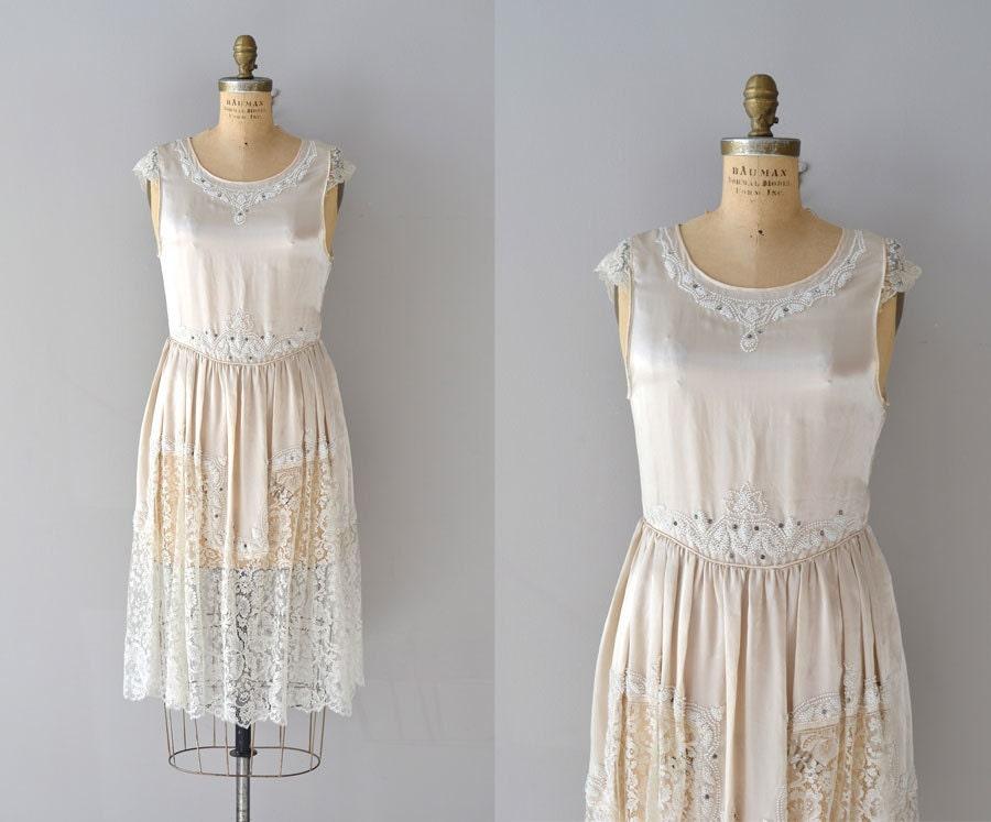 Classic Wedding Dress Satin: Vintage 1920s Dress / Silk 20s Wedding Dress / Toujours