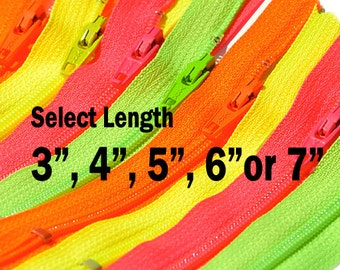 Pack (12 zippers) Assorted YKK Zipper Neon Colors # 3 Nylon Coil Closed Bottom - Select Your own Length