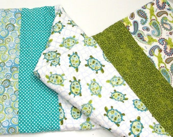 "Turtles and frogs baby quilt - ""Pond Friends"" in blues and greens with lily pads and dragonflies READY TO SHIP"