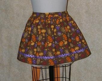 Fall Festival Shortie Apron Autumn Squash Corn Hostess Apron Low Rise Cotton Purple Metallilc Ric Rac ooak