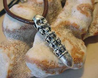 Unisex Biker, Gothic Skull Bullet Style Pewter Pendant on choice of leather cord 13a19,20