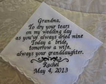 Grandmother or Grandfather Personalized Handkerchief for your Wedding