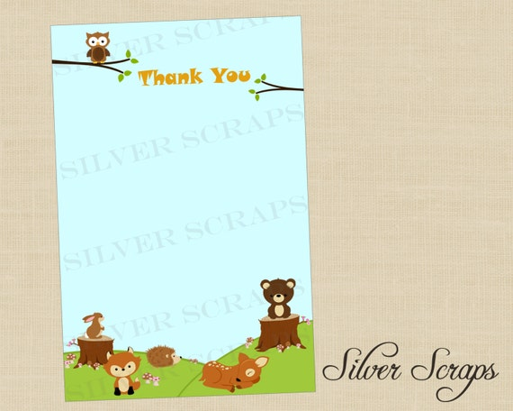Woodland Forest Animals - Custom Thank You Cards, Notecards - Baby Shower, Birthday -Matching Invitations - Unisex, Boy, Girl (Printable)