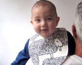 BABY BIB - Organic Sheep Bib - Eco Friendly Mod Lambs in Black and White for Baby Boys & Girls