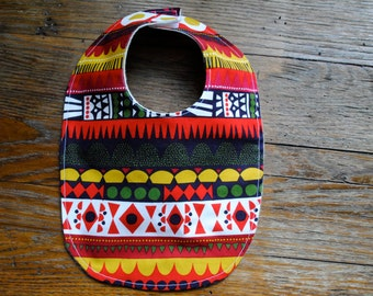 Organic Marimekko Baby Bib - Tribal Geometric Toddler Food Bib in Red Green and Gold - Eco Friendly Kids