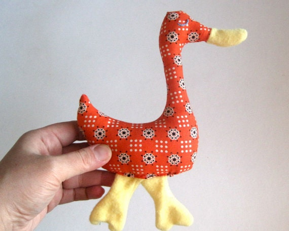 BABY Toy Duck Rattle - Organic Farm Animal - Handcrafted Organic Kids Toy (Ready to Ship)