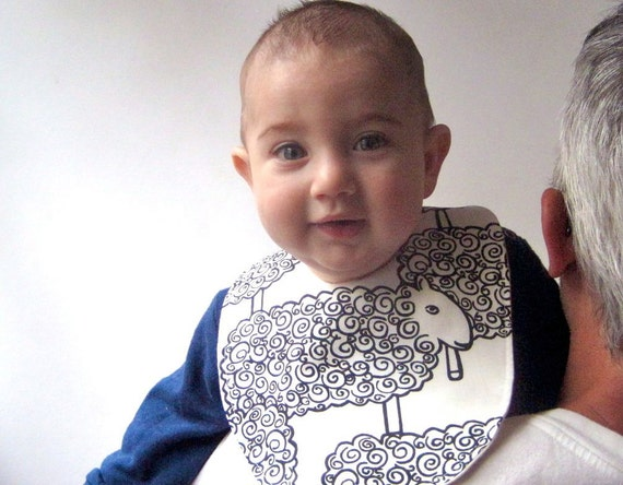 BABY BIB - Organic Sheep Bib - Eco Friendly Mod Lambs in Black and White for Baby Boys & Girls
