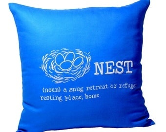 Blue Pillow Cover, Decorative Pillow,Throw Pillow, Bird Nest Pillow, Blue Linen White Nest Embroidery, Home Decor, Pillow Case, Cocuh Pillow