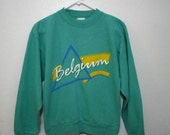 Vintage 80's/90's seafoam green Belgium graphic print sweater
