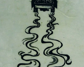 Making Tracks, black and white linoleum block print, a proof, printed and signed by the artist