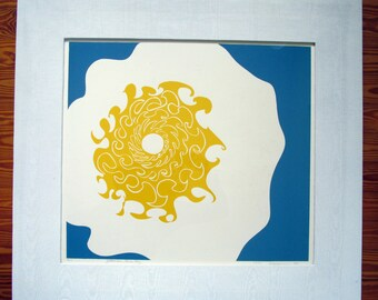 Yellow Sun, Blue Sky,  limited edition silkscreen, hand printed, hand signed in pencil by the artist, framed