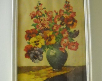 Heliotrope Bouquet - 1930's Bold Color FLORAL Framed Wall Hanging