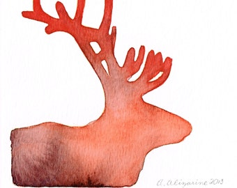 Watercolor Silhouette, Sunset Caribou - Amethyst Melon Ombre, 5 x 5