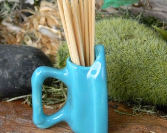 Iron Tooth Pick Holder          Vintage Style  - toothpick holder turquoise .... ready to ship items in my store