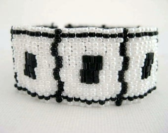 Peyote Bracelet in Black and White Seed Bead Cuff Beaded Beadwork