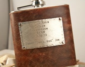 Flask Leather 8 oz, Customized message quote , Distressed Leather,