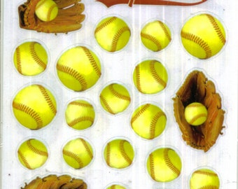2 Sheets - SOFTBALL Stickers - Girls Sports | Scrapboook Stickers | Papercrafting