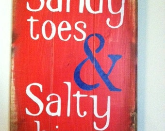 sandy toes salty kisses beach sign beach decor wood sign beach house - Beach Theme Decor