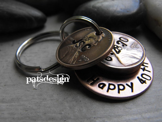 Lucky Us  Copper Keychain with THREE lucky pennies