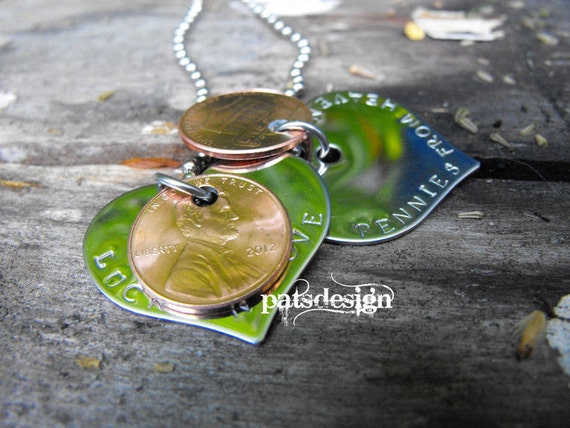 Two Hearts Pendant Stainless steel each with 2 pennies