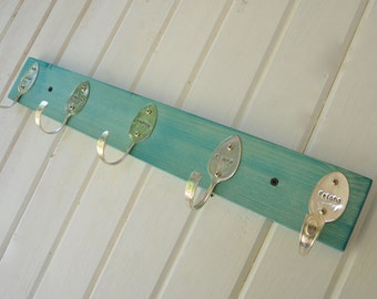 Turquoise Stained Personalized Spoons Coat Rack