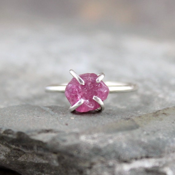 Raw Ruby Ring -  Rough Uncut Red Ruby - Sterling Silver Solitaire  -  Ruby Engagement Ring - July Birthstone Ring - 40th Anniversary Ring