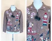 Vintage Light Brown Zip Up Christmas Sweater. Holiday. Festive. Petite Small. 1980s. Victoria Jones. Snowman. Santa. Pom Pom. Red. Green.