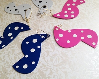 Vintage Dangle Polka Dot Abstract Earrings. Metal. Lightweight. Hipster. Bright. Fun. Whimsical. Navy Blue. Pink. White. 1980s. You Choose.