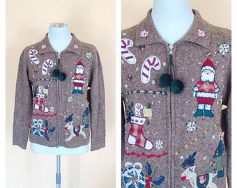 Vintage Light Brown Zip Up Christmas Sweater. Holiday. Festive. Petite Small. 1980s. Victoria Jones. Snowman. Santa. Pom Pom. Red. Green.