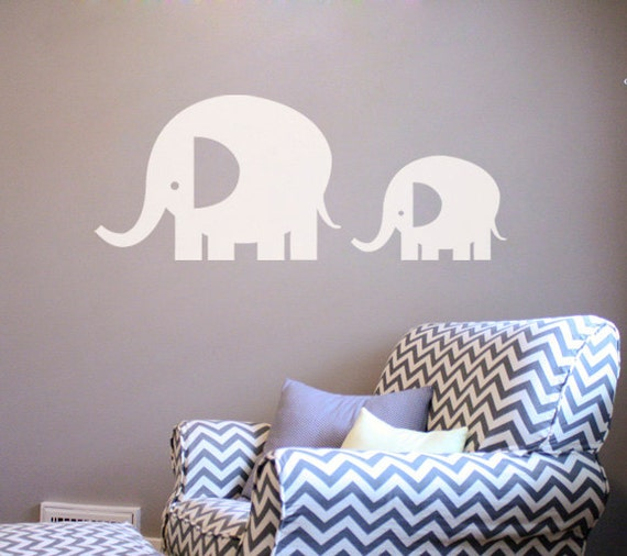 Large Elephants Wall Decal Sticker - Set of 2