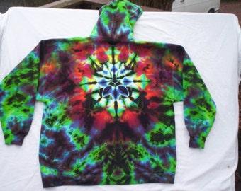 Forest Mandala Tie Dye Zip Hoodie Size XL