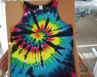 Mens Spiral Out Tie Dye Tank Size Large