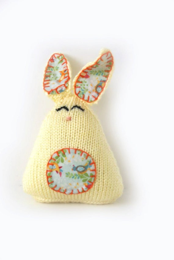 Knitted Yellow Easter Bunnies, Easter Toys