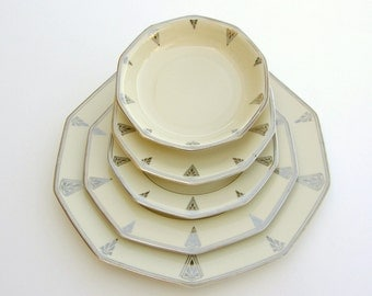 Superb Art Deco Dinnerware for 2, Deauville Community China, Ivory Cream w/ Platinum, Vintage Wedding China