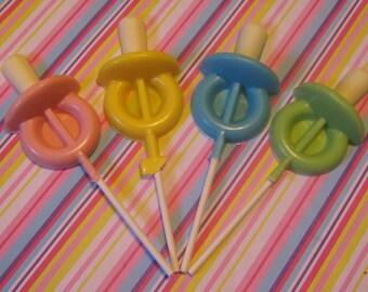 One dozen baby pacifier lollipop sucker party favors