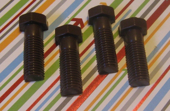 One dozen chocolate bolts carpenter auto builder party favors cupcake toppers