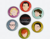 Mad Men inspired button Set of 7 original illustrated Sterling Cooper buttons Don Draper, Joan, Peggy and more